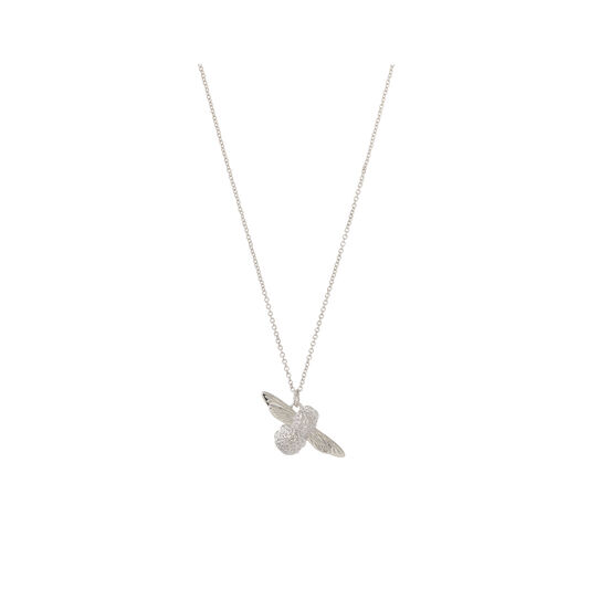 3D Bee Pendant Necklace Silver