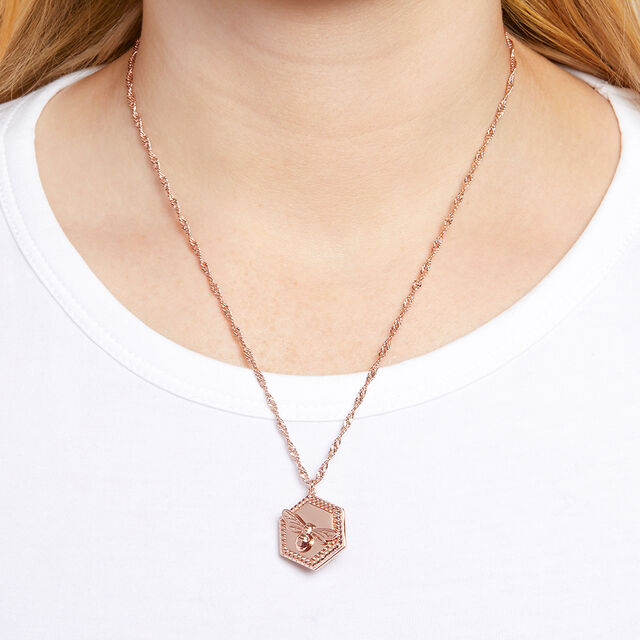 Lucky Bee Rose Gold Locket Necklace