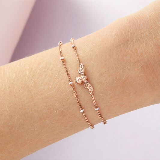 Lucky Bee Chain Bracelet Rose Gold