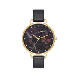 Demi Night Garden Butterflies Black & Gold Watch