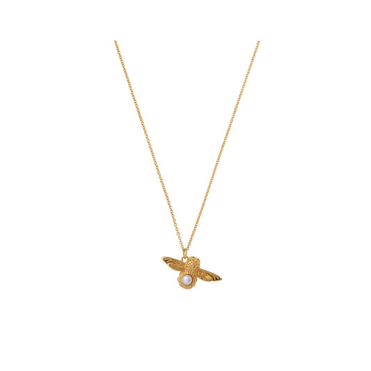 Pearl Bee Pendant Necklace Gold