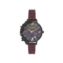 Olivia Burton After Dark Case Cuff Demi Dial Watch with Wine Suede