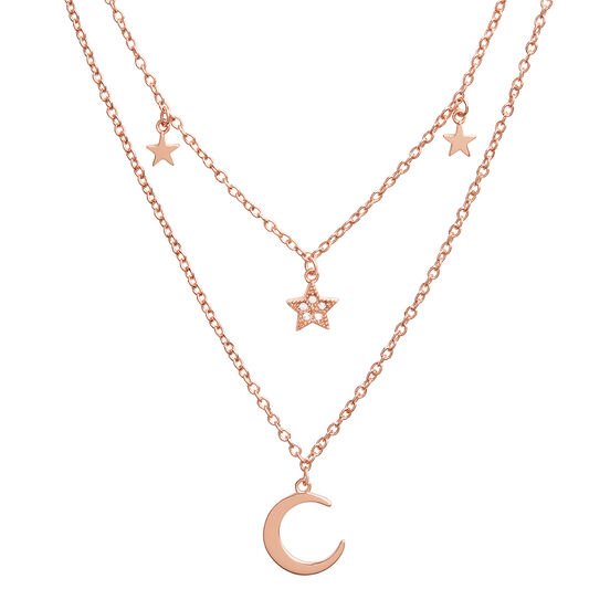Celestial Double Crescent Moon and Star Necklace Rose Gold