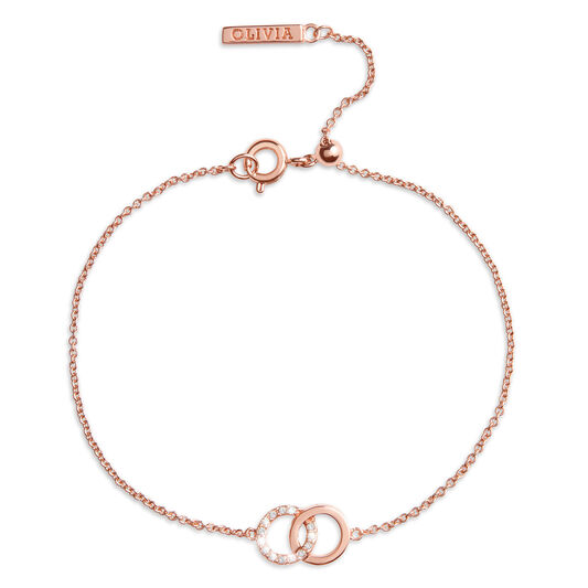 Bejewelled Interlink Chain Bracelet Rose Gold