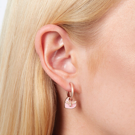 You Have My Heart Huggie Hoops Pink & Rose Gold