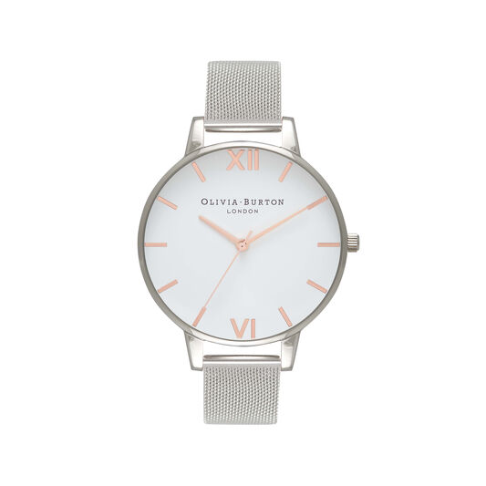 White Dial Rose Gold & Silver Mesh Watch