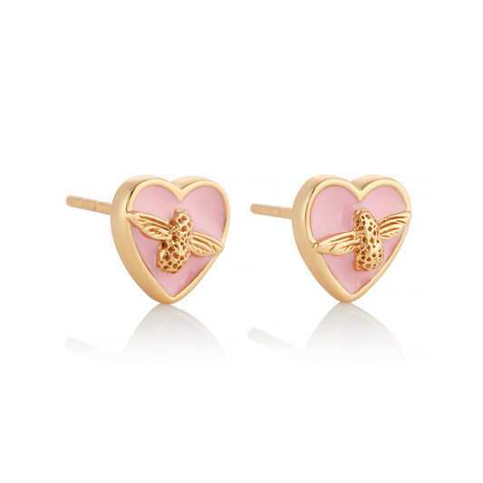 Love Bug Studs Pink & Gold