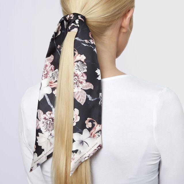 Marble Floral Skinny Silk Scarf Black