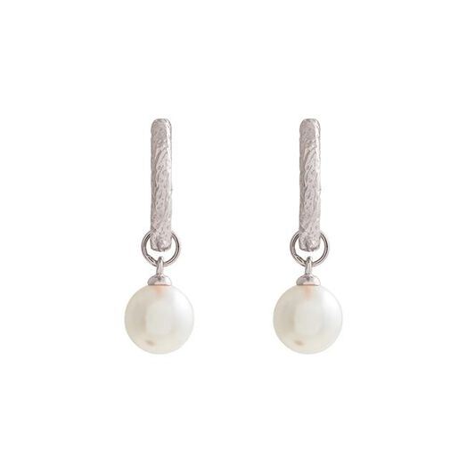 Antique Pearl Charm Silver Hoops