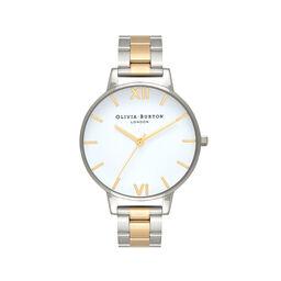 Olivia Burton White Dial Silver & Gold Bracelet Watch