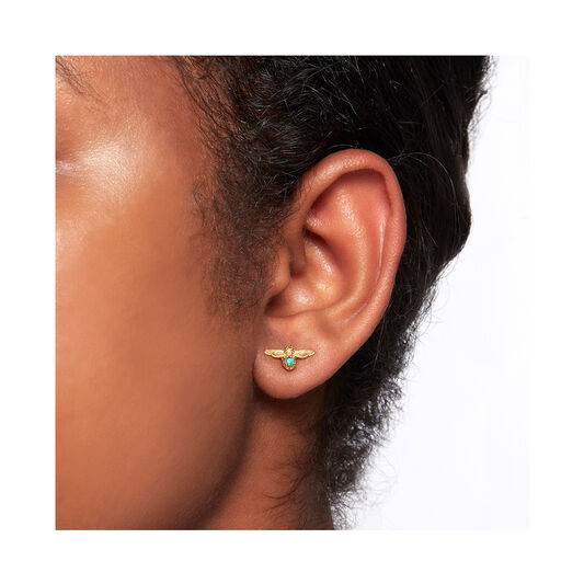 Celebration Bee Studs Gold & Green Agate