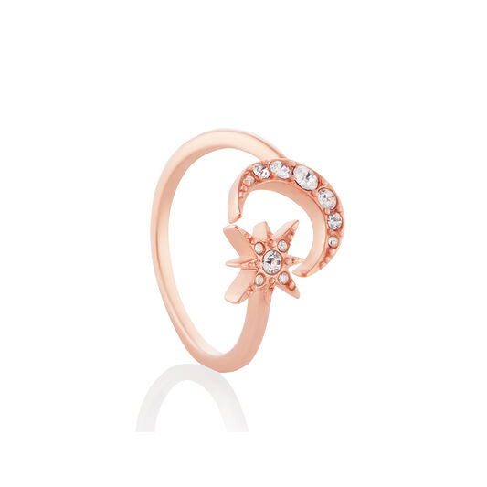 Moon & Star Rose Gold Adjustable Ring