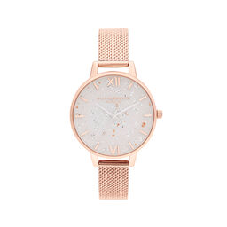 Celestial Rose Gold Mesh Watch