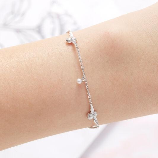 Pearl Bee Chain Bracelet Silver
