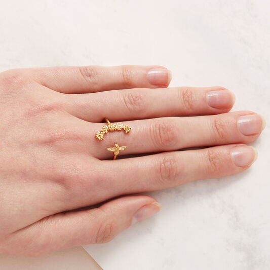 Bee Blooms Ring Gold