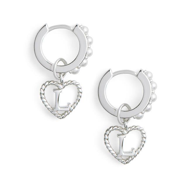 'L' Faux Pearl Heart Initial Huggie Hoop Silver