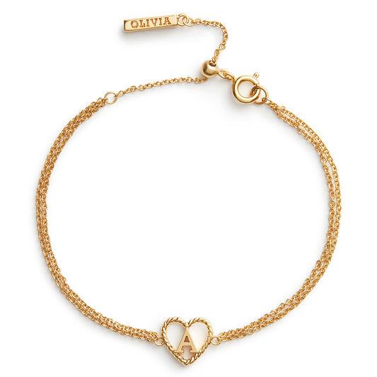 'A' Heart Initial Chain Bracelet Gold
