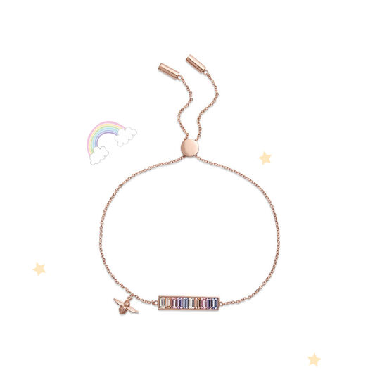Rainbow Bee Baguette Bar Bracelet Rose Gold