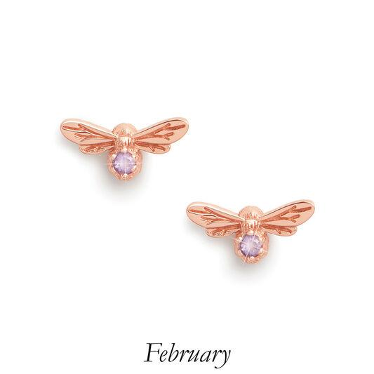 Celebration Stones Celebration Bee Studs Rose Gold & Amethyst (February)