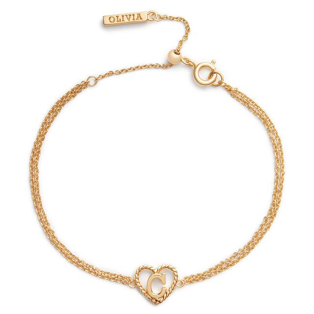 'C' Heart Initial Chain Bracelet Gold