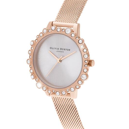 Bubble Case Midi Dial Pale Rose Gold Mesh Watch