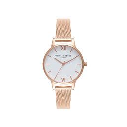 White Dial Rose Gold Mesh Watch