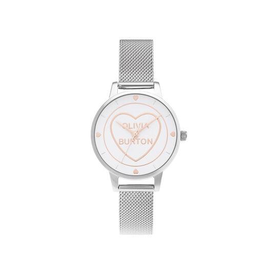 Sweet Heart Midi Silver Mesh Watch