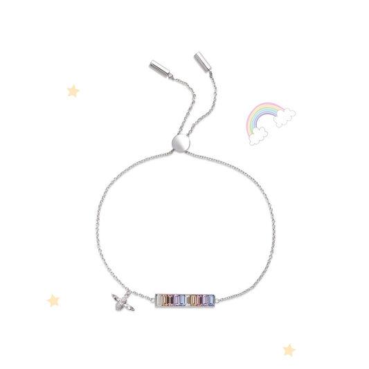 Rainbow Bee Baguette Bar Bracelet Silver
