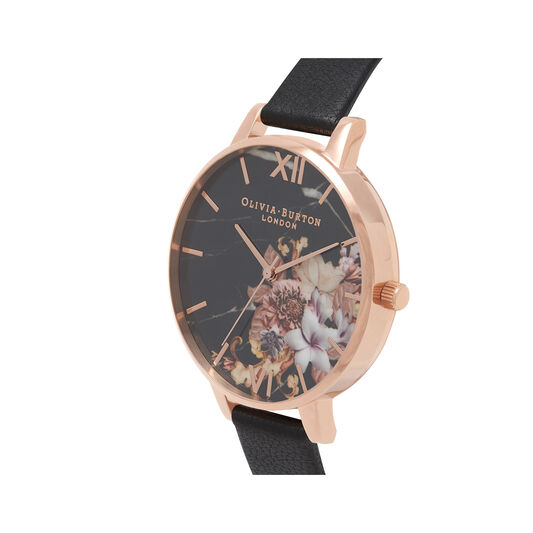 Marble Floral Black & Rose Gold Watch