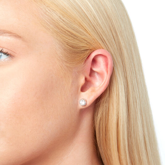BeJewelled Classics Round Stud Earring Rhodium