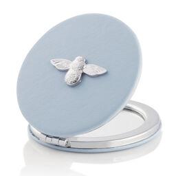 3D Bee Compact Mirror Chalk Blue & Silver