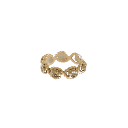 Floral Charm Rope Ring Gold