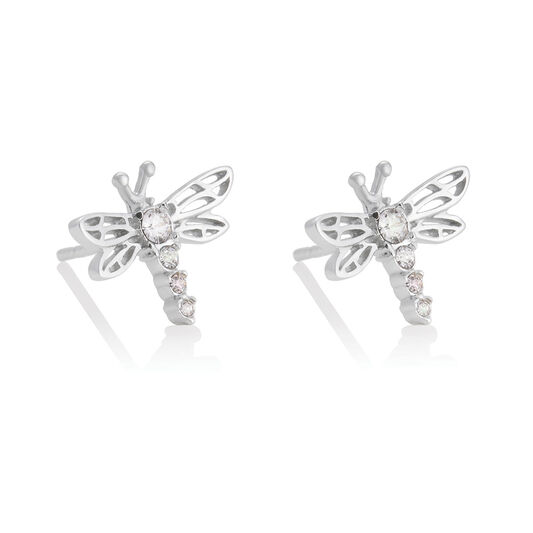 Dancing Dragonfly Stud Earrings Silver