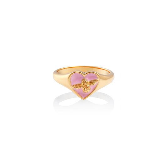 Love Bug Signet Ring Pink & Gold L