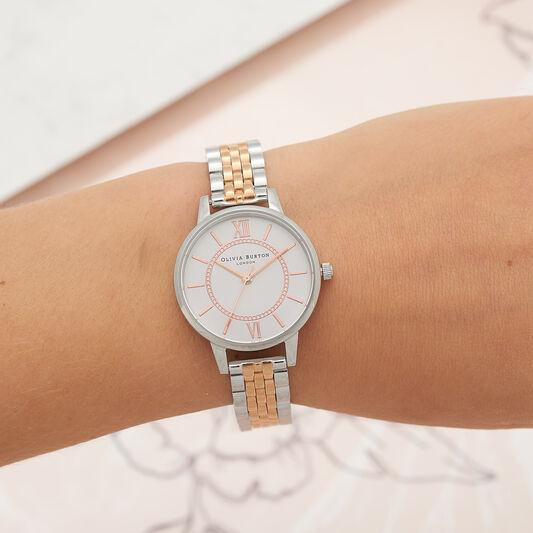 Wonderland Bracelet Silver And Rose Gold Mix Watch