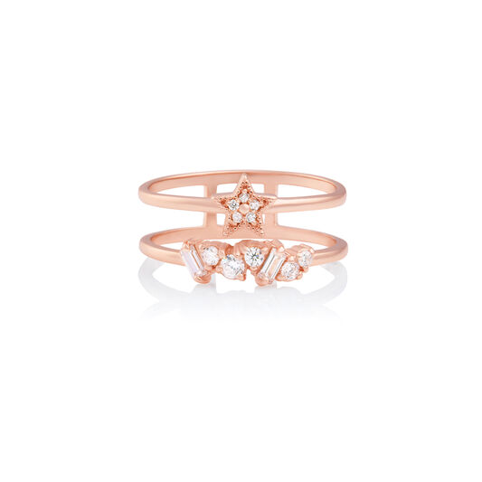 Celestial Double Band Ring Rose Gold M