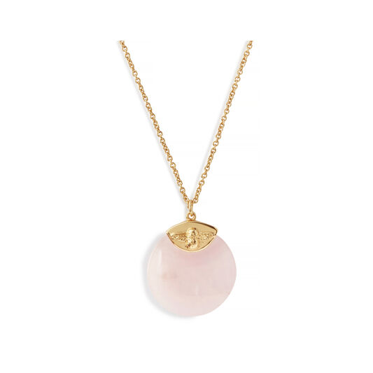 Semi Precious Necklace Gold & Rose Quartz