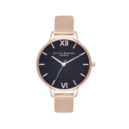 Demi Black Glitter Dial & Rose Gold Mesh Watch