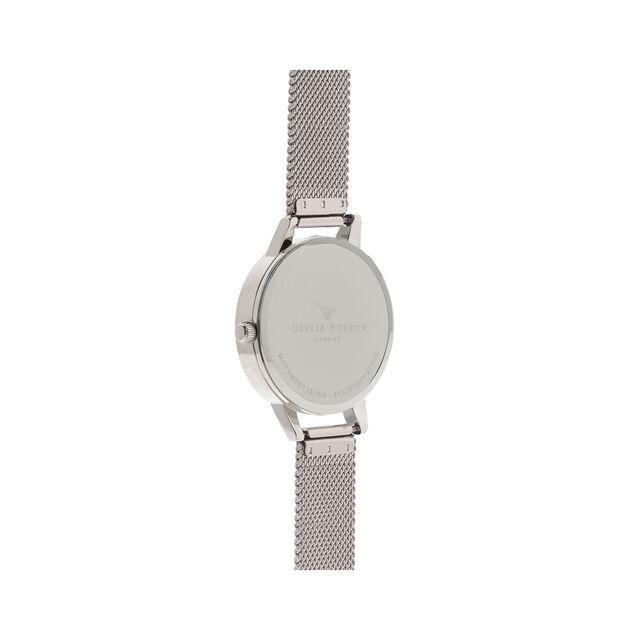 Midi Dial White Dial & Silver Mesh Watch