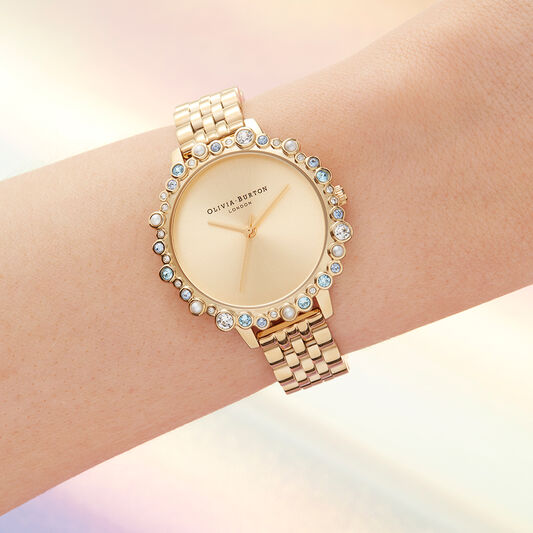 Limited Edition Bejewelled Case Watch, Gold Bracelet