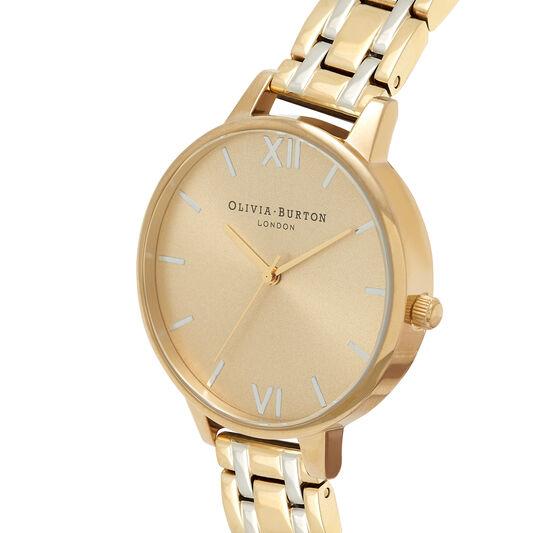 Big Dial Thin Case Pale Gold & Silver Bracelet Watch