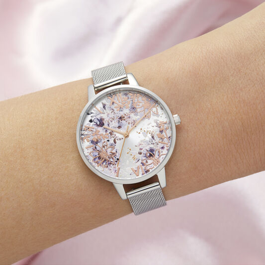 Abstract Floral Demi Silver & Rose Gold Mesh Watch