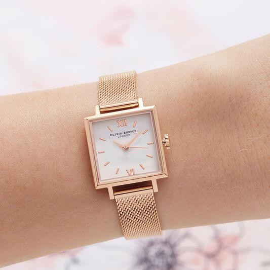Big Square Dial Rose Gold Mesh Watch