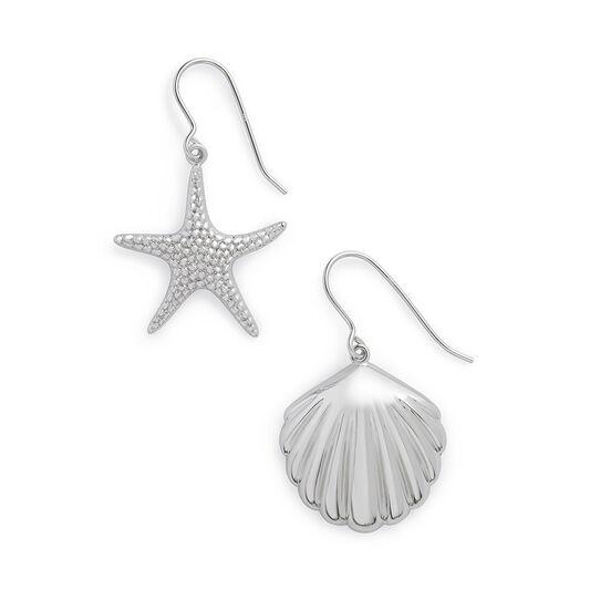Shell & Starfish Silver Sleeper Earrings