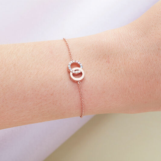 Bejewelled Classics Rainbow Interlink Chain Bracelet Rose Gold