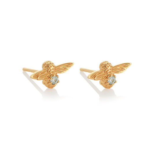 Celebration Bee Studs Gold & Aquamarine