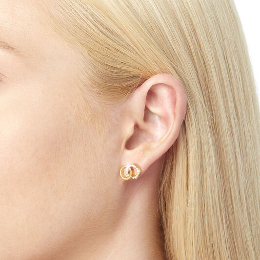 Bejewelled Interlink Earrings Gold
