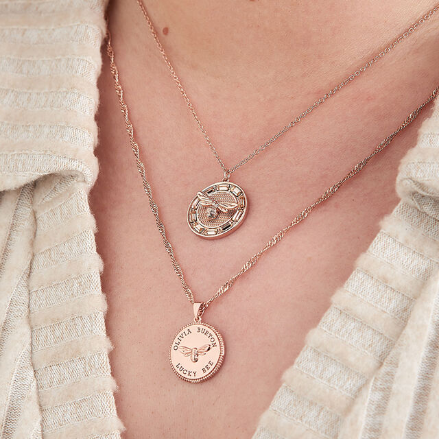 Lucky Bee Stone Set Rose Gold Pendant Necklace