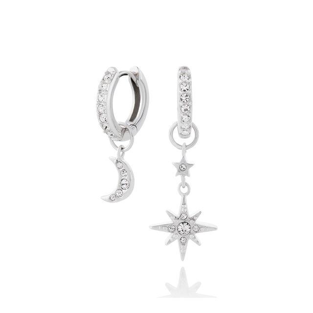 Moon & Star Silver Huggie Hoops