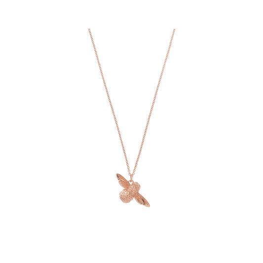 3D Bee Pendant Necklace Rose Gold